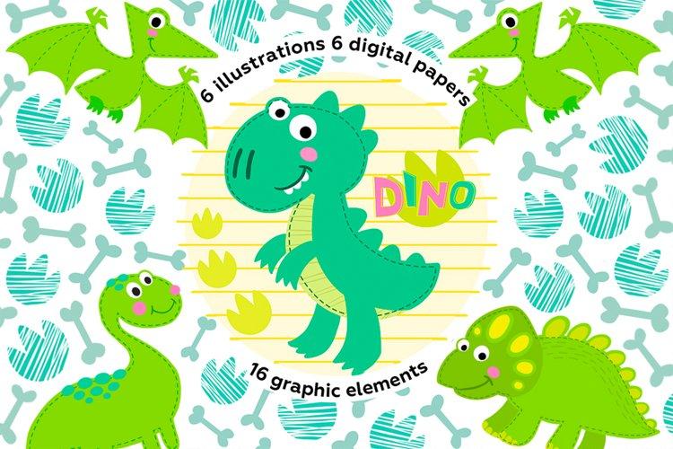 Baby dinosaur digital clipart, PNG, JPEG, EPS