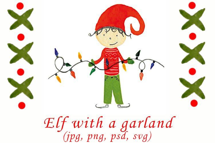 Watercolor Christmas elf with a garland example image 1