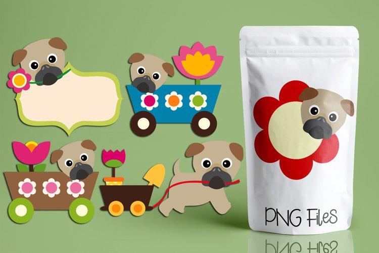 Spring illustrations - Pug dogs clip art