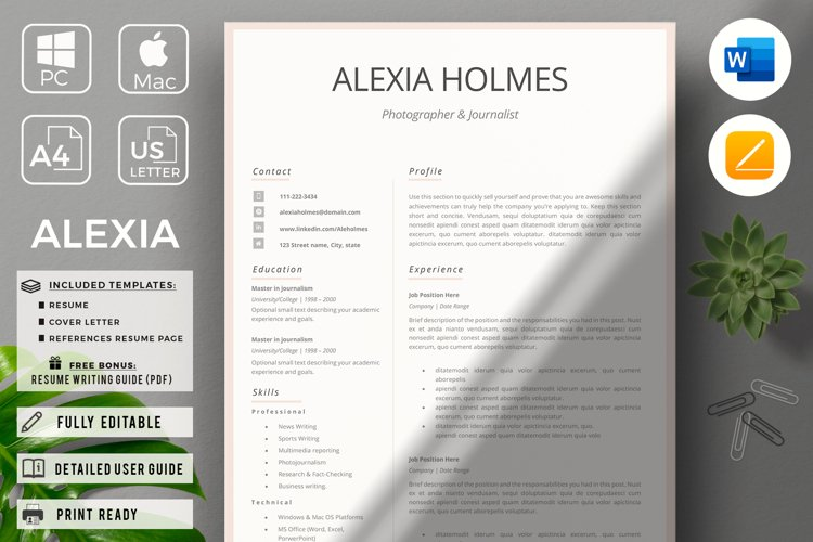 Resume and Cover Letter Template   Minimalist Resume CV example image 1