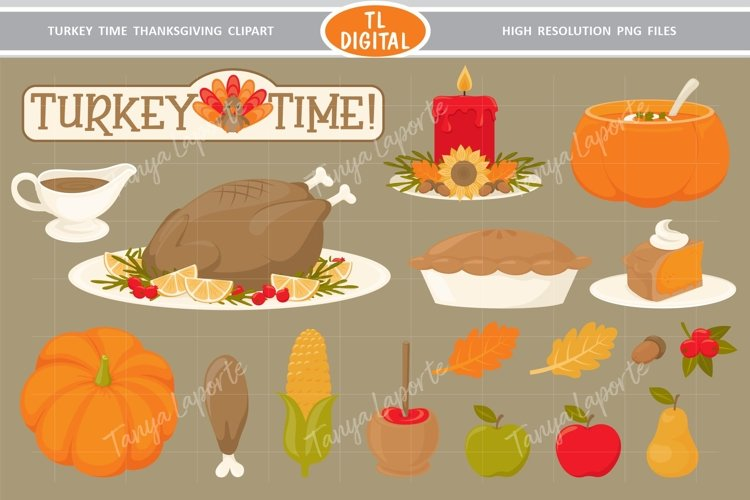 Turkey Time Thanksgiving Dinner Clipart - 18 PNG Graphics