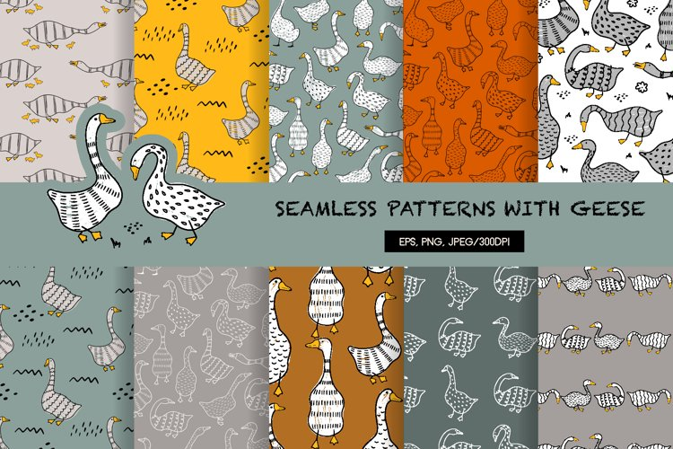 Seamless pattern with geese