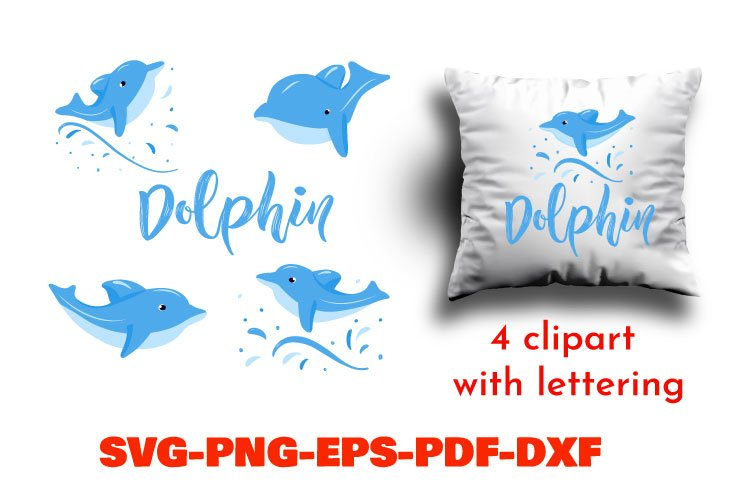 Bundle of 4 dolphin clipart with lettering. SVG, PNG