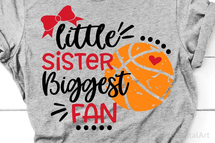 Basketball Sister Svg, Little Sister Biggest Fan Basketball example image 1