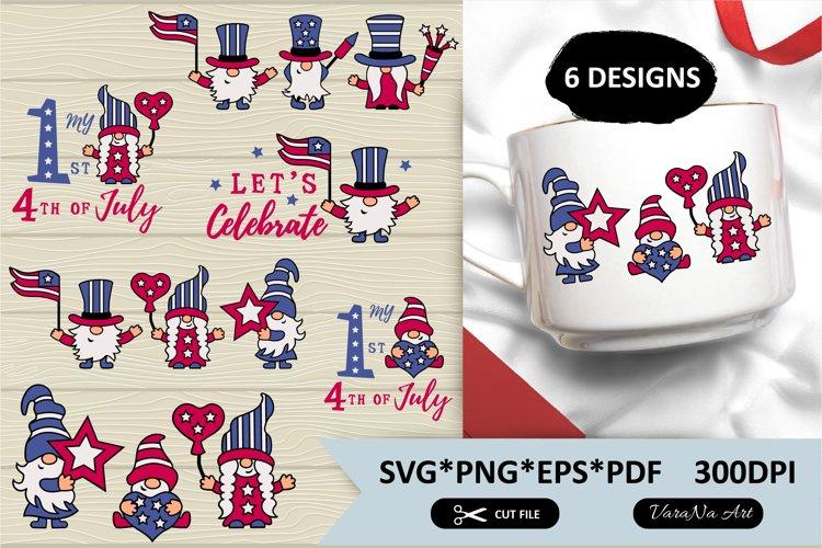 USA patriotic gnomes 6 designs. SVG and PNG files.