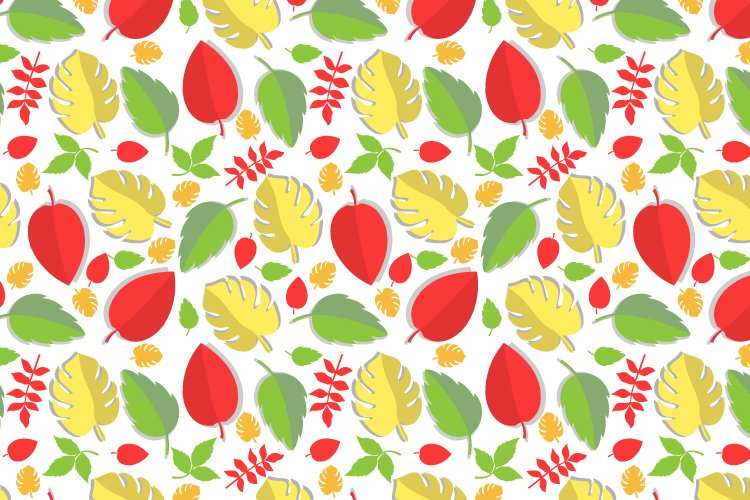 pattern design, with colorful leaf ornament example image 1