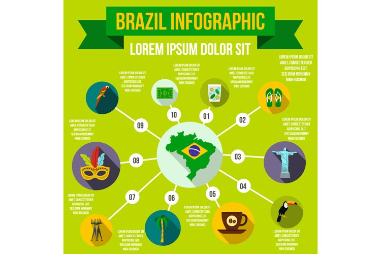Brazil infographic elements, flat style example image 1