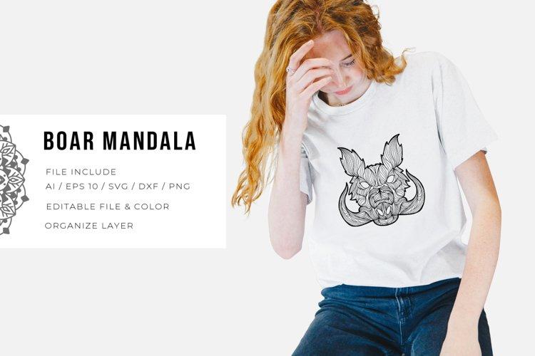 Boar Mandala | SVG example image 1