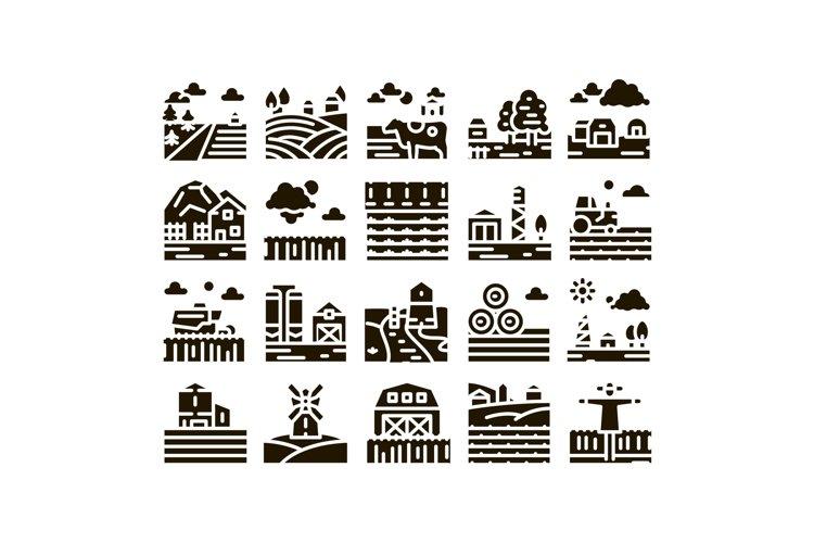 Farming Landscape Glyph Set Vector example image 1