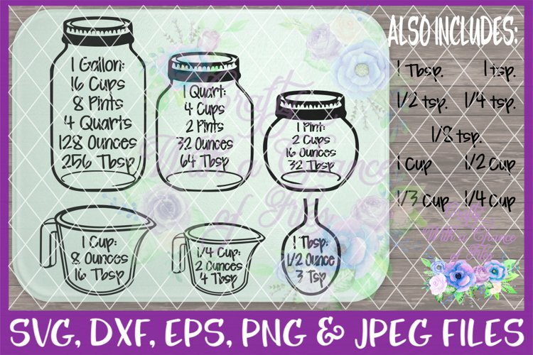 Kitchen Measurement Chart SVG - Free Design of The Week Font