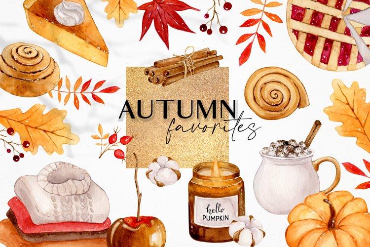 Fall favorites - Autumn watercolor clipart