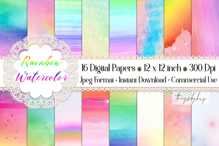 16 Colorful Fairy Tale Rainbow Watercolor Digital Papers