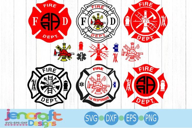 Firefighter Svg, Fireman Monogram Badge SVG, EPS, DXF, PNG