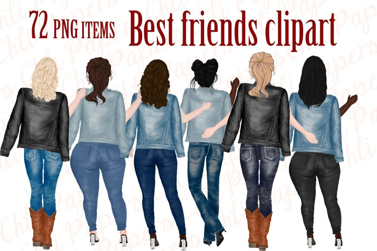 Best Friends Clipart,Jeans and legs,plus size girls