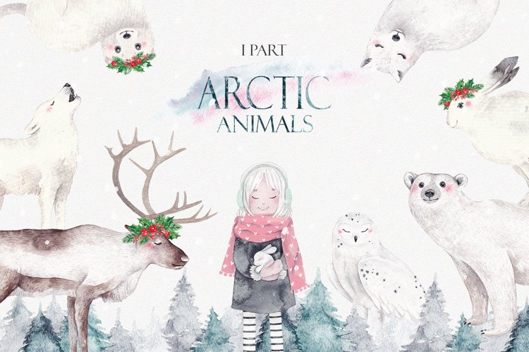 ARCTIC ANIMALS watercolor set PART 1 example image 1