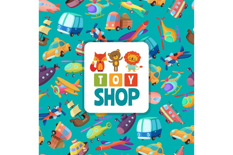 Seamless pattern with illustrations of different toys
