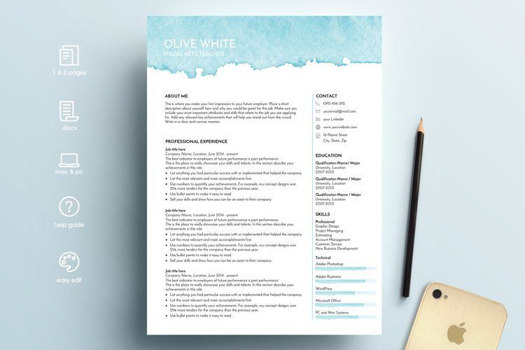 resume template word / blue watercolor example image 1