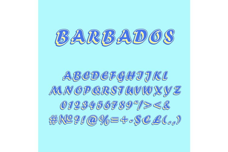 Barbados vintage 3d vector alphabet set