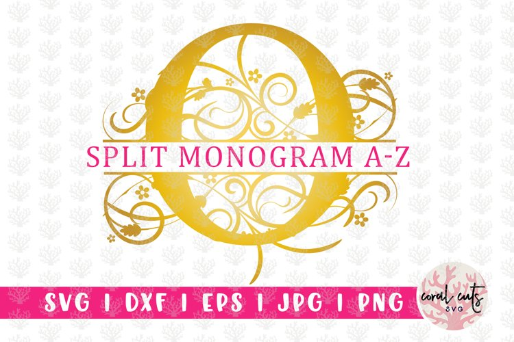 Floral Gold Split Monogram - Alphabets A to Z - EPS SVG DXF