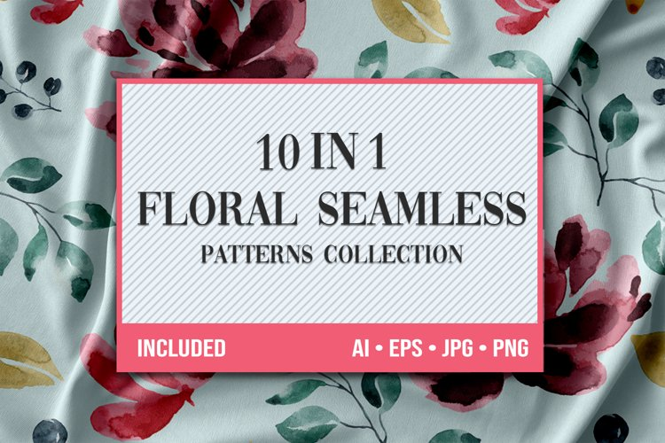 10 Floral Seamless Patterns Collection example image 1
