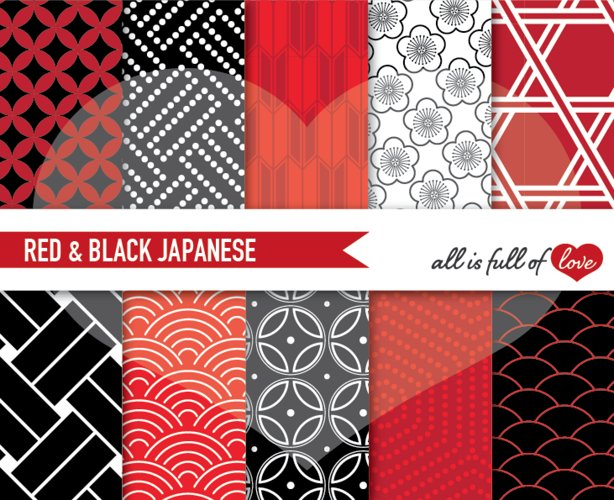 Japanese Backgrounds in Black and Red Digital Graphics to Print example image 1