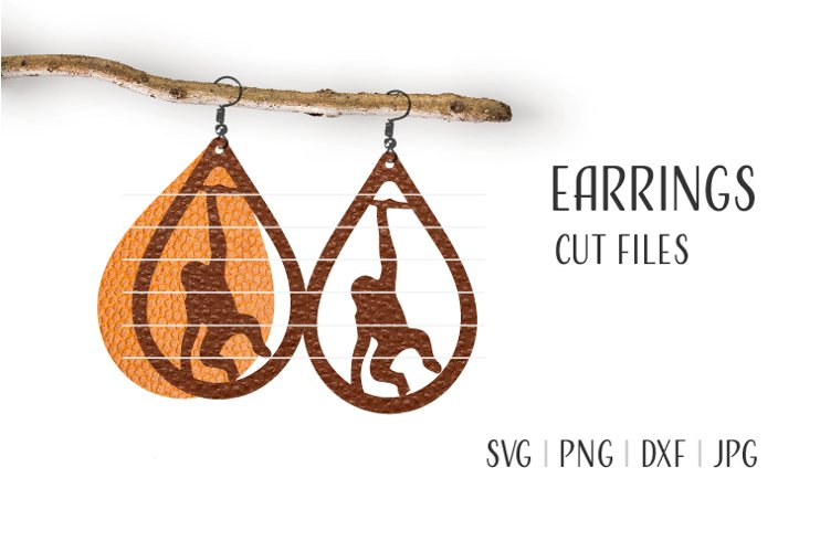 Monkey Earrings Svg / Leather / Faux / Wood / Cut example image 1