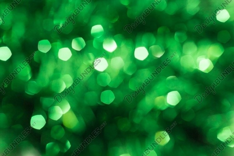 Defocused abstract green background. Blurred holiday bokeh example image 1