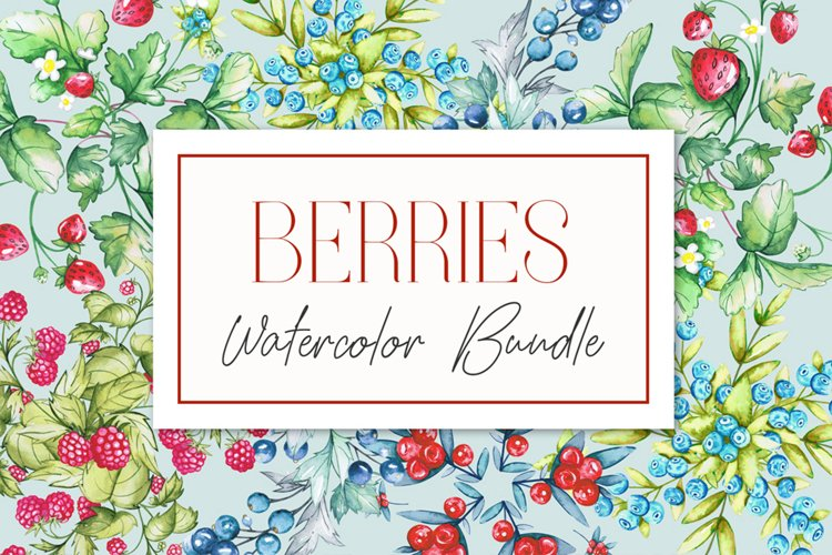 Berries Watercolor Bundle example image 1