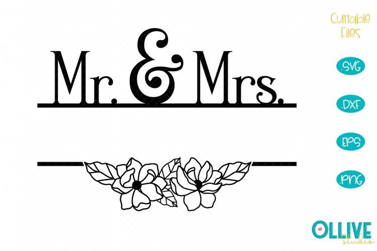 Wedding Mr & Mrs Split Monogram SVG example image 1