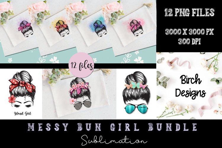 Messy Bun Girl Bundle Sublimation PNG Designs