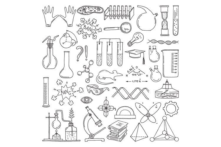 Black silhouette of scientific symbols. Chemistry and biolog example image 1