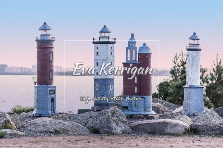 Miniatures of Finnish lighthouses in marine park Catherine. example image 1