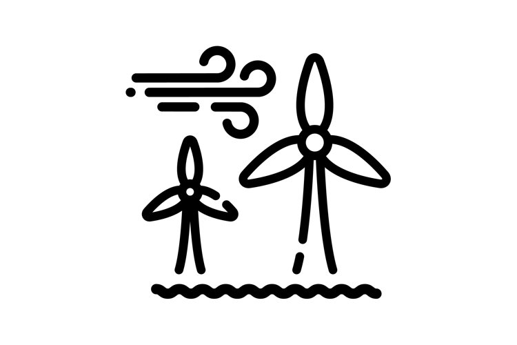 Offshore wind turbines line icon. Wind farm energy sign. example image 1
