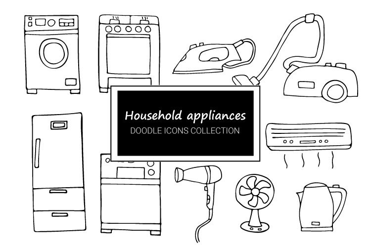 Household appliances doodle icons collection