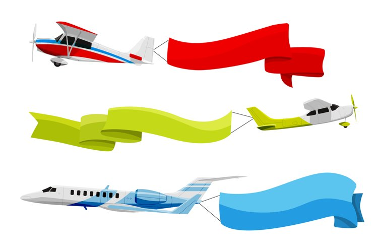 Attached banners to flying airplanes. Vector illustration in example image 1