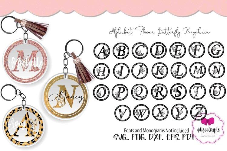 Letter Keychain, Alphabet Butterfly Keychain,Letter Monogram example image 1