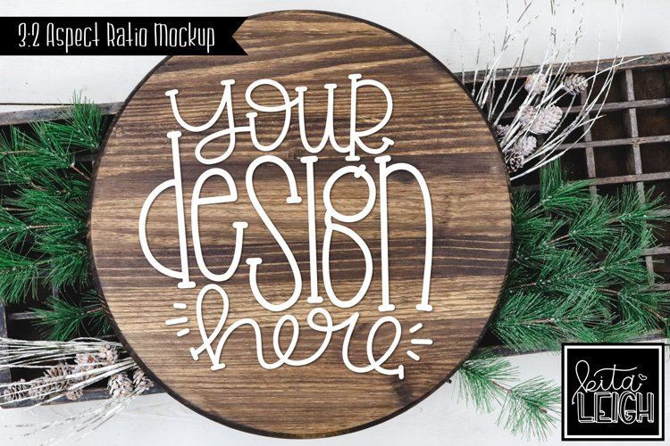 Wood Round Christmas Mockup with Stick Accents example image 1