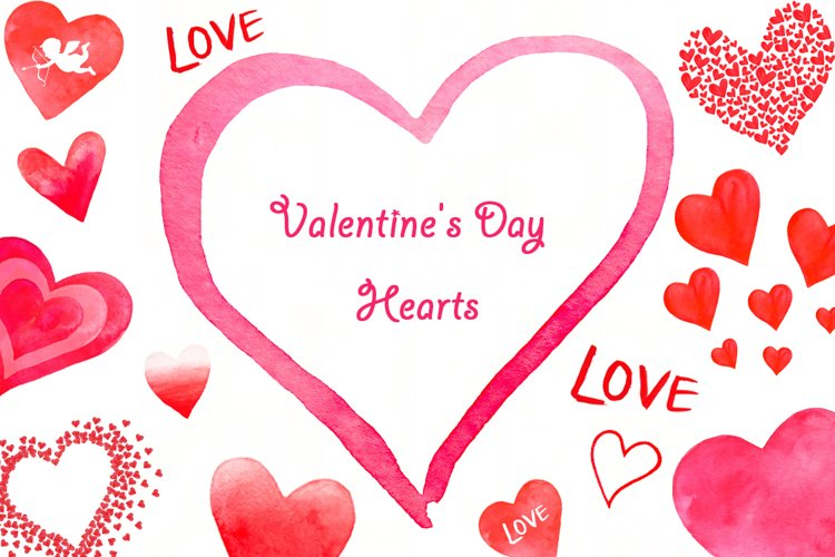 Valentine's Day set of watercolor example image 1