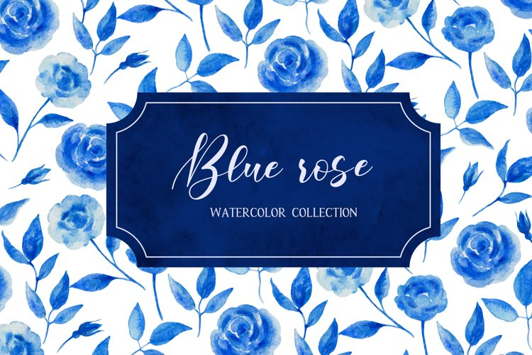 Watercolor collection of blue roses