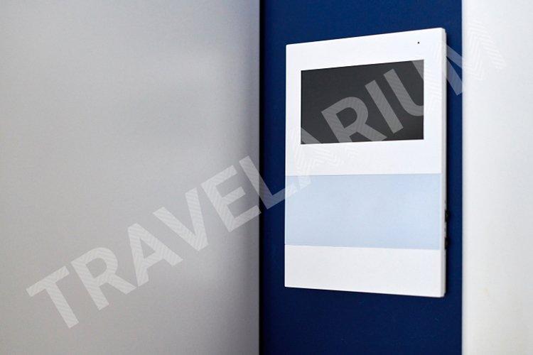 Video intercom on wall. Video door phone