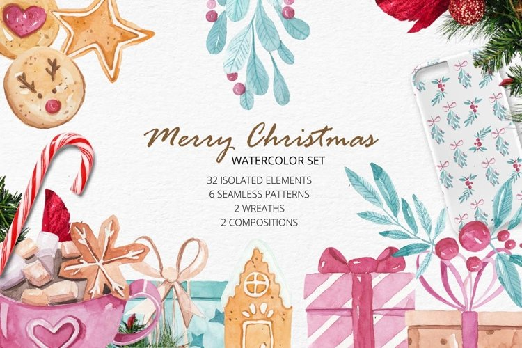 Watercolor christmas set with elements and patterns