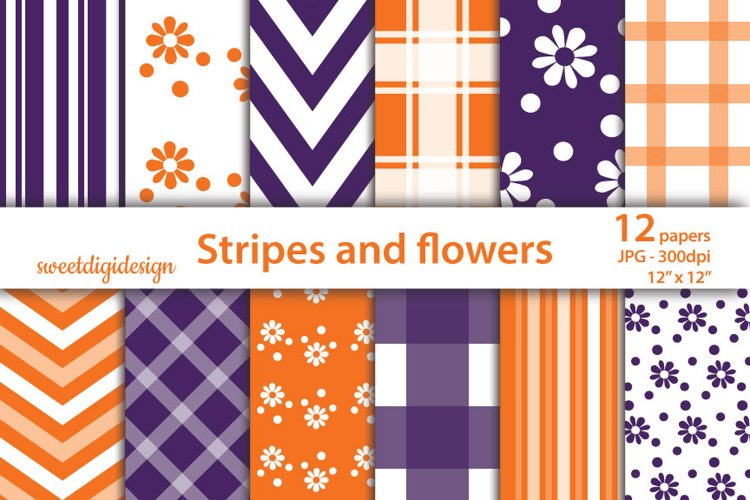 Purple and orange chevron, flowers, stripes seamless pattern example image 1