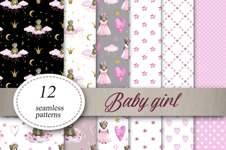 Baby girl Digital Paper Baby shower Seamless Patterns