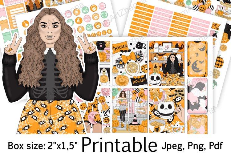 "Halloween Digital Printable Stickers Set Box Size 2""x1,5"" example image 1"