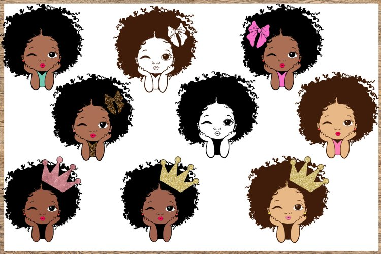 Peekaboo girl with puff afro svg, Cute black example image 1