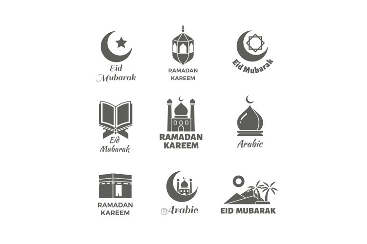 Arabic muslim vector logo set. Islamic spiritual labels example image 1