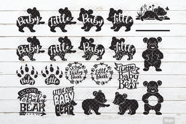 Baby Bear SVG Little Cub in SVG, DXF, PNG, JPEG example image 1