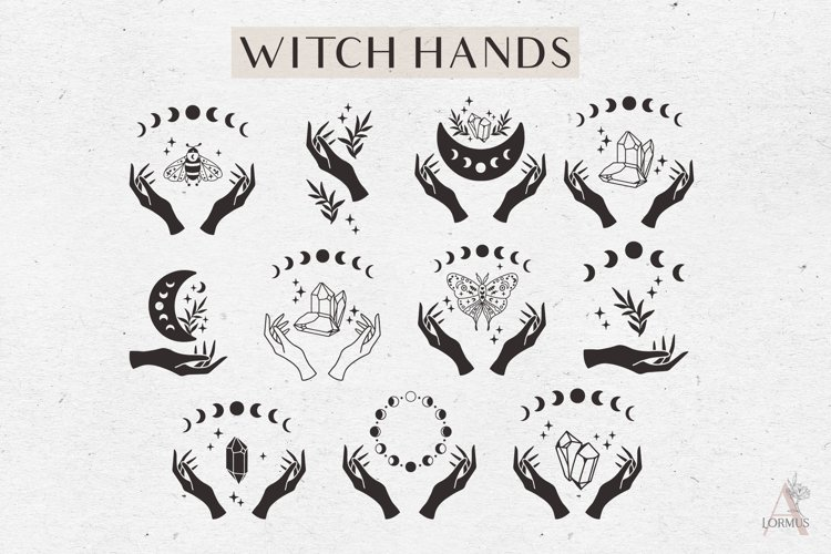 Celestial svg bundle, Witch hands svg, Moon phase svg, Boho example image 1