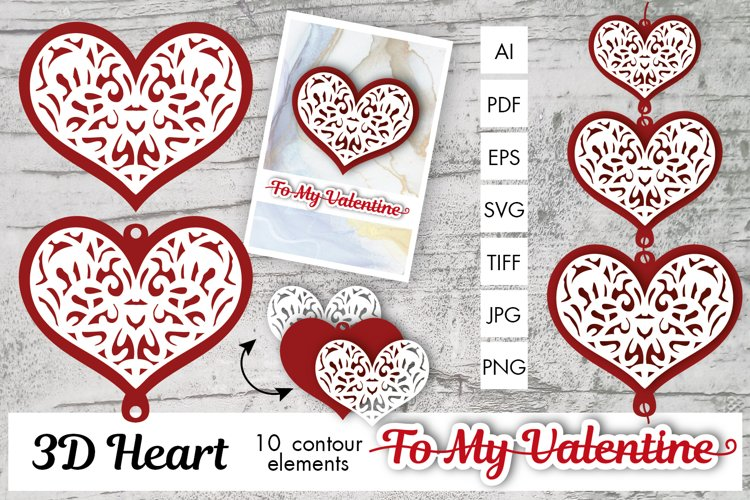 3D Heart Contours for Valentins Day - gifts, cards, designs