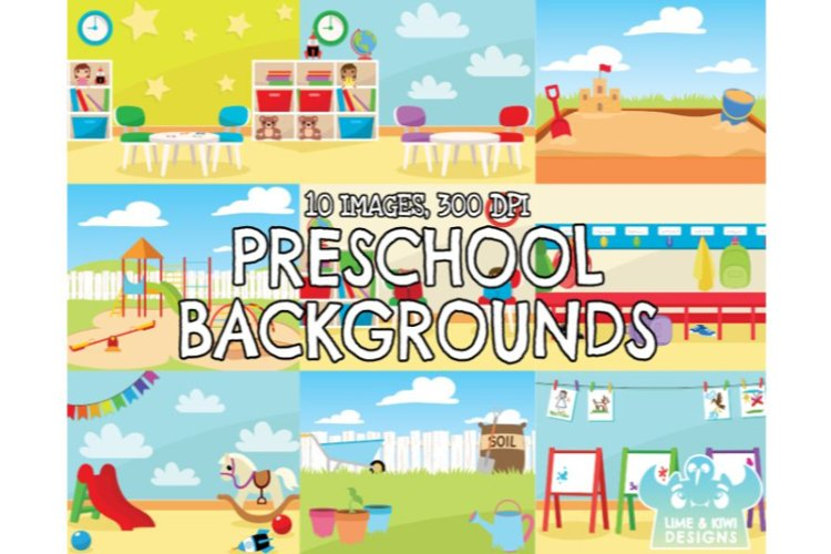 Preschool Backgrounds - Lime and Kiwi Designs